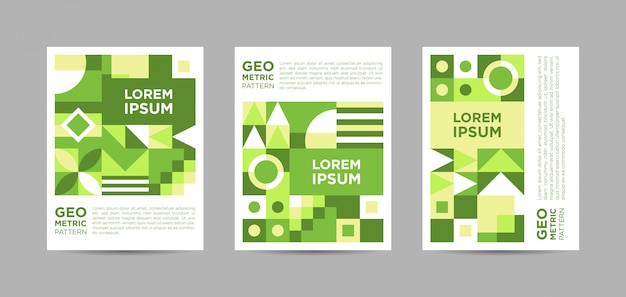 Green abstract triptych poster
