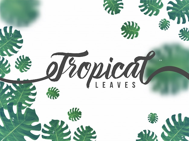 Green abstract tropical leaves decorated background