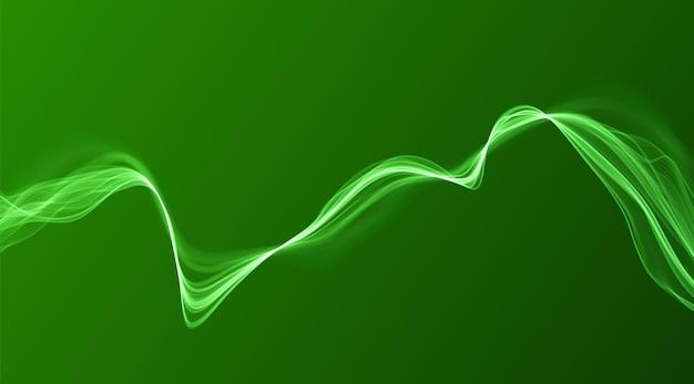 Green abstract wave. magic line design. flow curve motion element. neon gradient wavy illiustration.