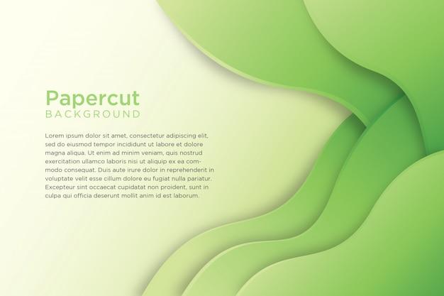 緑の抽象的な波状紙カット背景