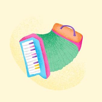 Green accordion sticker musical instrument illustration