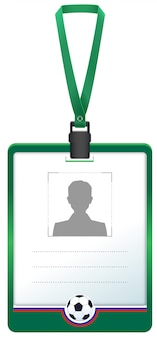Green accreditation id card for soccer sports journalist