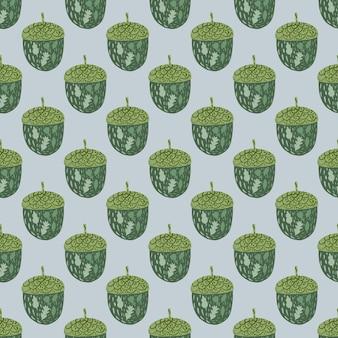 Зеленый желудь каракули силуэты бесшовные модели.