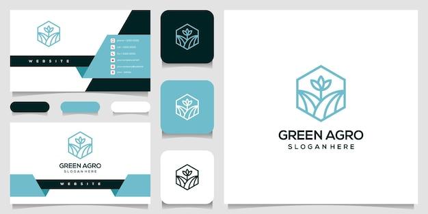 緑の農業自然の葉のロゴのデザインと名刺