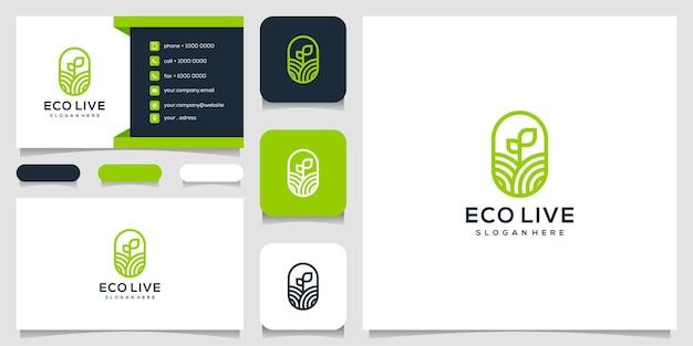 Зеленый агро природа лист дизайн логотипа и визитная карточка