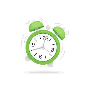 フラットなデザインの図の緑の目覚まし時計