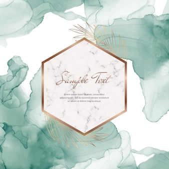 Green alcohol ink banner with geometric marble frames and leaves. trendy template