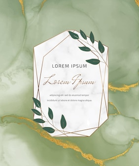 大理石の幾何学的なフレームと葉を持つ緑のアルコールインク水彩カード