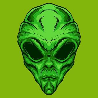 緑のエイリアンの頭のイラストのロゴのデザイン
