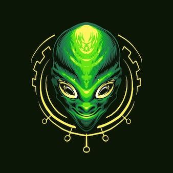 블랙에 고립 된 녹색 외계인 머리