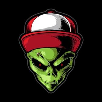 Green alien wearing cap isolated on black