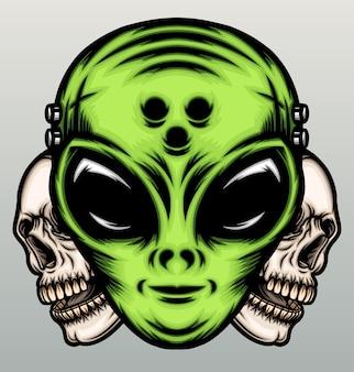 Зеленый инопланетянин с человеческим черепом в рисованной