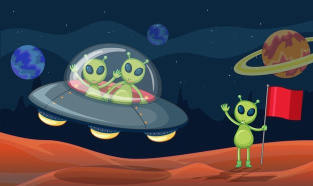Green aliens in ufo