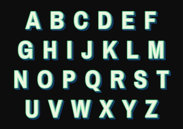 녹색 알파벳 세트