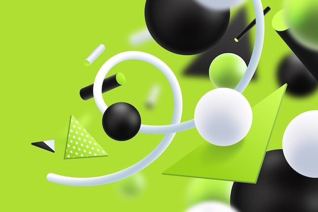 Зеленый и черный футуристический 3d фон Бесплатные векторы
