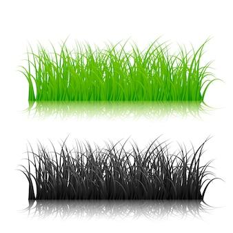 白い背景の上の緑と黒のシルエット草。図
