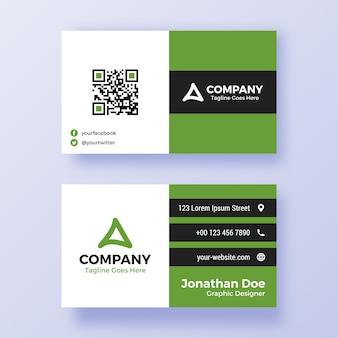 Зеленый и черный простой шаблон визитной карточки