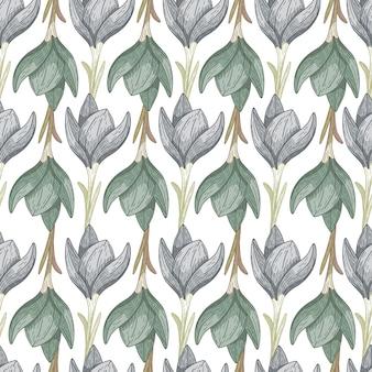 輪郭のクロッカスの花と緑と青の色のシームレスな孤立したパターン