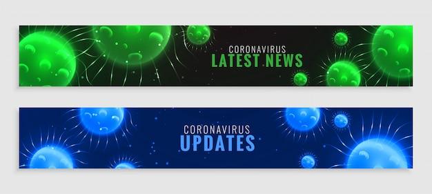 緑と青のコロナウイルスcovid-19最新ニュースと更新バナー