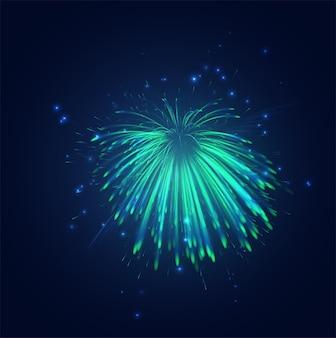 Зелено-синий салют в ночном небе, праздничный набор искр и настроения