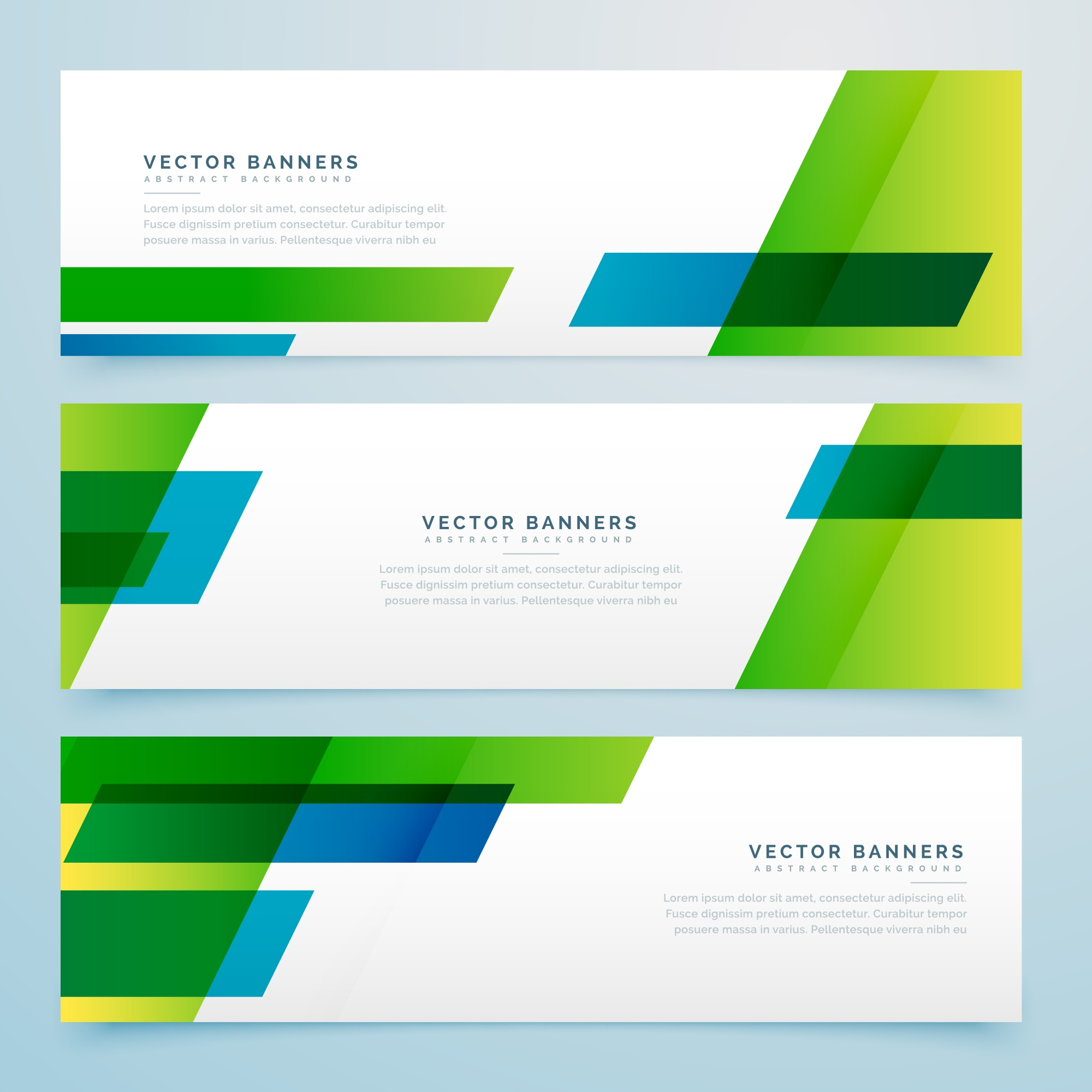 Green and blue geometric banners