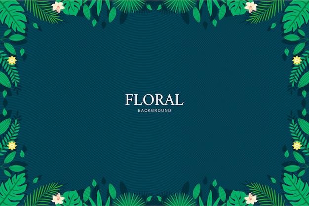 녹색과 파란색 그라데이션 꽃과 잎 프레임 템플릿 그림 배경