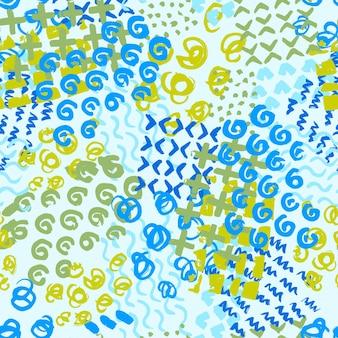 녹색과 파란색 손으로 그린 패턴