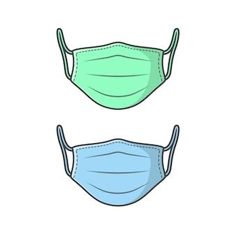 녹색 및 파랑 의료 얼굴 마스크 벡터 아이콘 그림입니다. 바이러스 보호 평면 아이콘