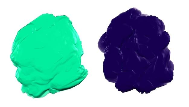 緑と青の厚いアクリル水彩絵の具の質感