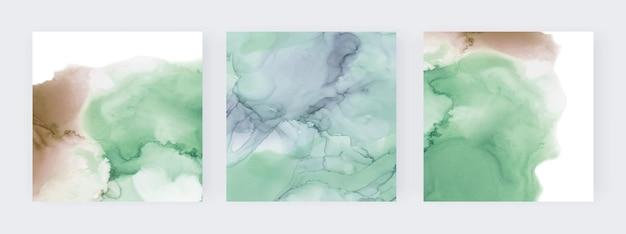 緑と茶色のアルコールインク水彩セット