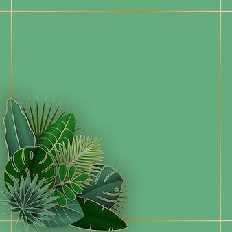 ピンクの背景に緑と金の熱帯の葉