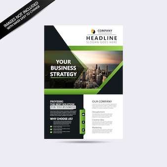 Green and gray business flyer template