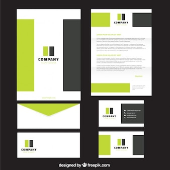 Green and grey rectangles business stationery