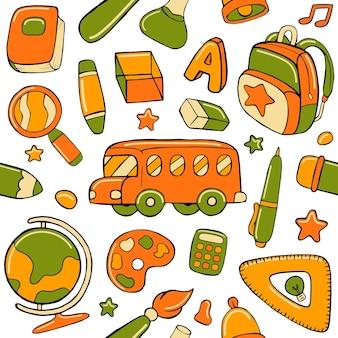 Зеленый и оранжевый обратно в школу бесшовные модели в стиле плоского дизайна