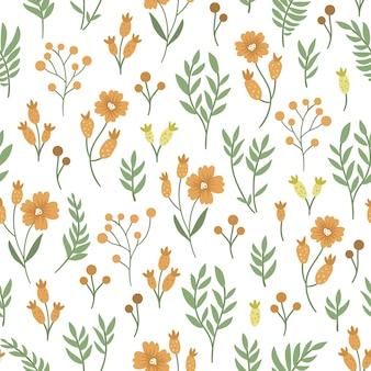 緑とオレンジの花のシームレスなパターン。
