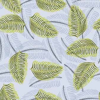 Зеленый и пастельный синий случайные силуэты папоротника орнамент бесшовные модели. ботанический орнамент природы. графический дизайн оберточной бумаги и текстуры ткани. векторные иллюстрации.