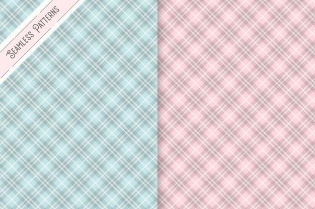 緑とピンクの市松模様のシームレスパターンセット