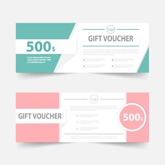 Green and pink gift voucher banner design