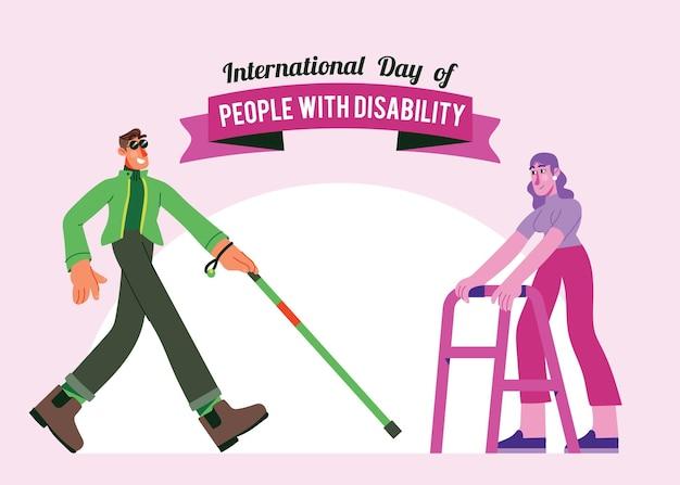장애가있는 녹색 및 분홍색 사람