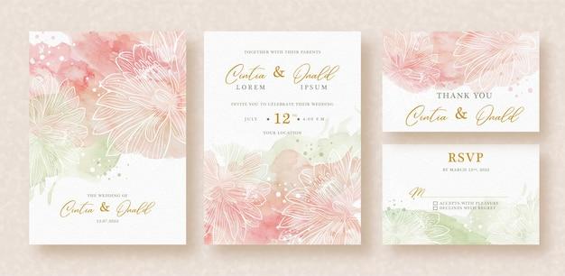 Зеленые и розовые всплески абстрактной акварели на свадебное приглашение