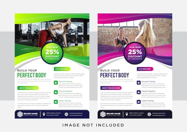 緑と紫のグラデーション垂直チラシテンプレートデザイン。ボディビルディング、フィットネス、スポーツ、プレゼンテーション、広告の抽象的な背景。写真のためのスペース。