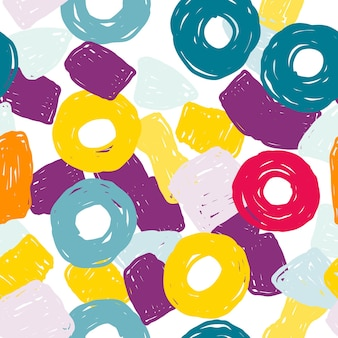 緑と紫のスポーツベクトルのシームレスなパターン。鮮やかな明るい絵筆の壁紙。黄色とオレンジ色の抽象芸術。描かれたフォームの印刷。
