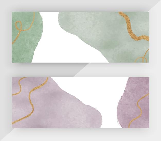 ゴールドのキラキラテクスチャ水平バナーと緑と紫の水彩画
