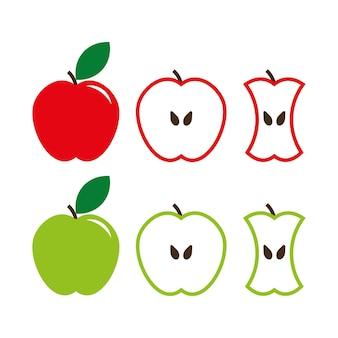 緑と赤のリンゴのサインセット、全体とカットフルーツ。ベクトルイラスト