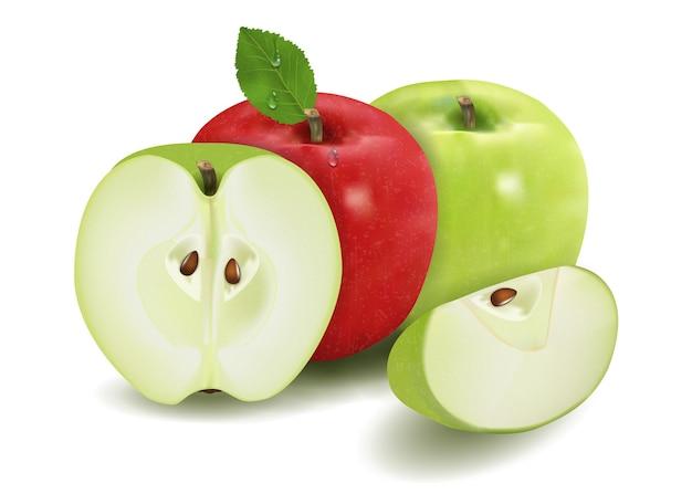 Зеленые и красные яблоки с листьями и ломтиками, изолированными на белом