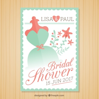 Green and red bridal shower invitation template