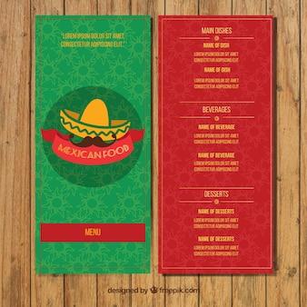 녹색과 빨간색 멕시코 레스토랑 메뉴