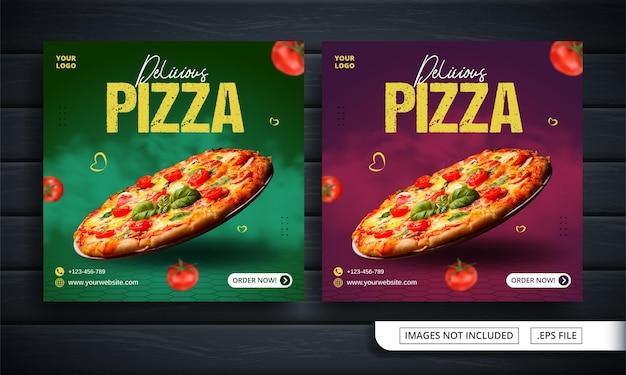 Зеленый и красный баннер в социальных сетях о продаже пиццы