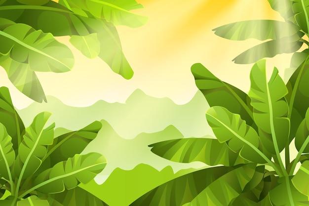 緑と日当たりの良いジャングルの背景