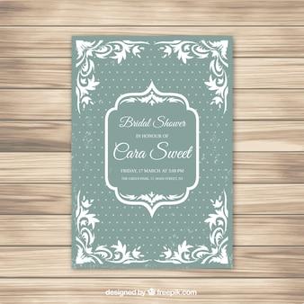 Приглашение на свадьбу в зеленом и белом свадебном платье с точечным фоном